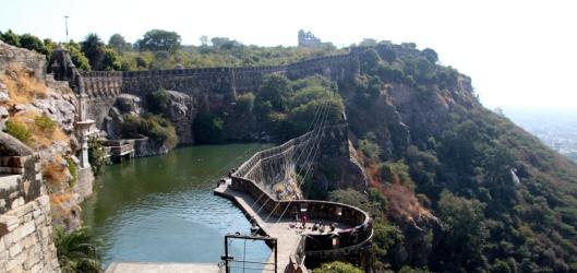 Gaumukh Reservoir, as seen from above.